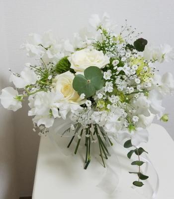花嫁の花束,作品その1,Flower Drops コースⅡ,東京,自由が丘,フラワーアレンジメント教室,フラワードロップス