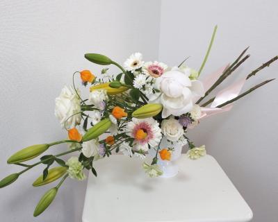 スプレーシェイプ,作品その2,Flower Drops コースⅡ,東京,自由が丘,フラワーアレンジメント教室,フラワードロップス