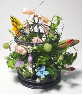 鳥かごのアレンジ,生徒さんの作品その1,Flower Drops コースⅠ,東京,自由が丘,フラワーアレンジメント,フラワースクール,フラワー教室,フラワードロップス