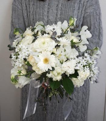 花嫁の花束,作品その1,Flower Drops コースⅡ,東京,自由が丘,フラワーアレンジメント,フラワースクール,フラワー教室,フラワードロップス