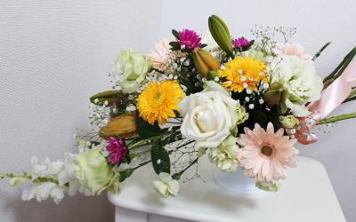 スプレーシェイプ,作品その1,Flower Drops コースⅡ,東京,自由が丘,フラワーアレンジメント,フラワースクール,フラワー教室,フラワードロップス