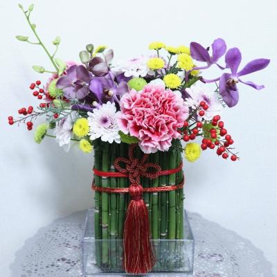 お正月飾り,作品その1,Flower Drops コース,東京,自由が丘,フラワーアレンジメント,フラワースクール,フラワー教室,NFD公認校,フラワードロップス