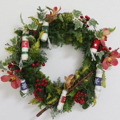 クリスマスリース,作品その2,Flower Drops コース,東京,自由が丘,フラワーアレンジメント,フラワースクール,フラワー教室,NFD公認校,フラワードロップス