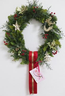 クリスマスリース,老人ホームにプレゼント,東京,自由が丘,フラワーアレンジメント,フラワースクール,フラワー教室,NFD公認校,フラワードロップス