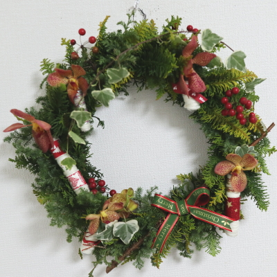 クリスマスリース,作品その5,Flower Drops コース,東京,自由が丘,フラワーアレンジメント,フラワースクール,フラワー教室,NFD公認校,フラワードロップス