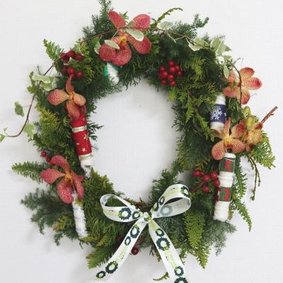 クリスマスリース,作品その6,Flower Drops コース,東京,自由が丘,フラワーアレンジメント,フラワースクール,フラワー教室,NFD公認校,フラワードロップス