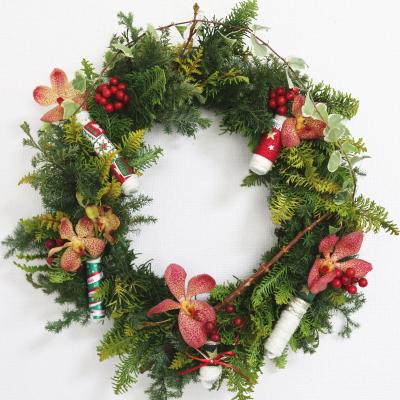 クリスマスリース,作品その7,Flower Drops コース,東京,自由が丘,フラワーアレンジメント,フラワースクール,フラワー教室,NFD公認校,フラワードロップス