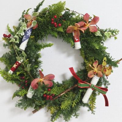 クリスマスリース,作品その8,Flower Drops コース,東京,自由が丘,フラワーアレンジメント,フラワースクール,フラワー教室,NFD公認校,フラワードロップス