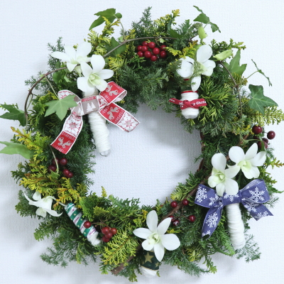 クリスマスリース,作品その9,Flower Drops コース,東京,自由が丘,フラワーアレンジメント,フラワースクール,フラワー教室,NFD公認校,フラワードロップス