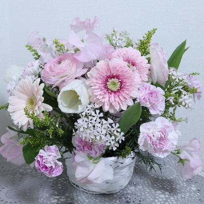 ロマンティックなアレンジメント,作品その1,Flower Drops コースⅠ,東京,自由が丘,フラワーアレンジメント,フラワースクール,フラワー教室,フラワードロップス