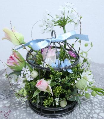 鳥かごのアレンジ,Flower Drops コースⅠ,東京,自由が丘,フラワーアレンジメント,フラワースクール,フラワー教室,フラワードロップス