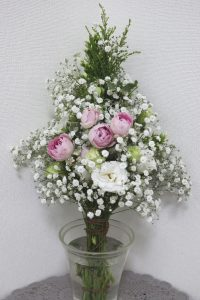 麻ひもで作る花束,作品その1,Flower Drops コースⅢ,東京,自由が丘,フラワーアレンジメント,フラワースクール,フラワー教室,フラワードロップス