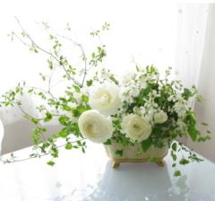 白いバラと白いラナンキュラスと|東京|自由が丘|フラワーアレンジメント教室|フラワードロップス