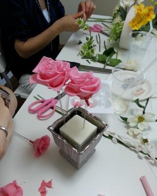 フラワーアレンジメント教室 東京 自由が丘 フラワードロップス ブログ レッスン風景
