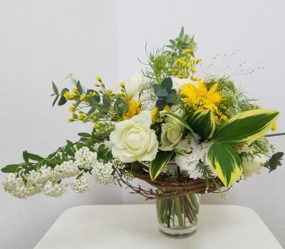 アシストを使った花束,Flower Drops コースⅠ,東京,自由が丘,フラワーアレンジメント,教室,フラワードロップス