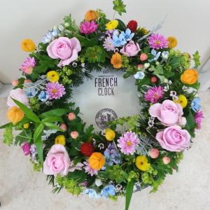 テーブルリース-生徒さんの作品その1 Flower Drops コースⅠ 東京・自由が丘のフラワーアレンジメント教室 フラワードロップス