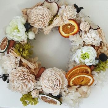 フラワーリース-生徒さんの作品その1 Flower Drops コースⅠ