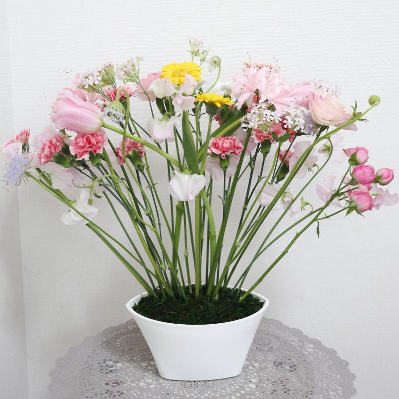パラレルスタイルⅢ,作品その1,Flower Drops コースⅢ,東京,自由が丘,フラワーアレンジメント,フラワースクール,フラワー教室,フラワードロップス