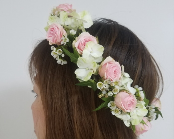 ジュエリーのような髪飾り,NFDウエディングフラワーコース,東京,自由が丘,フラワーアレンジメント教室,フラワードロップス