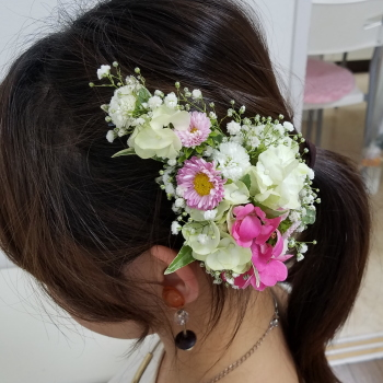 髪飾り,研究コース,東京,自由が丘,フラワーアレンジメント教室,フラワードロップス
