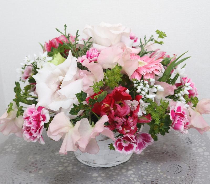 ロマンティックなアレンジ,作品その1,Flower Drops コースⅠ,東京,自由が丘,フラワーアレンジメント,フラワースクール,フラワー教室,フラワードロップス