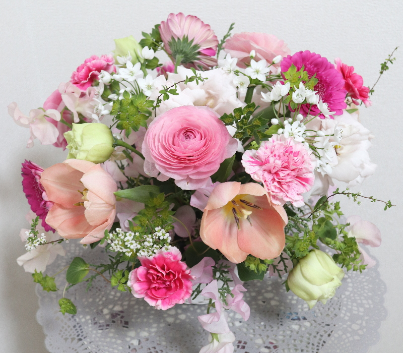 ロマンティックなアレンジ,作品その2,Flower Drops コースⅠ,東京,自由が丘,フラワーアレンジメント,フラワースクール,フラワー教室,フラワードロップス