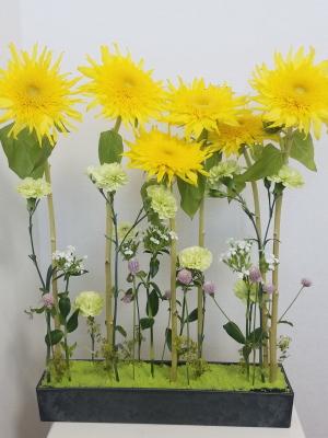 ひまわりのパラレル,Flower Drops コースⅠ,東京,自由が丘,フラワーアレンジメント教室,フラワードロップス