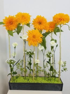 ひまわりのパラレル,別の生徒さんの作品,Flower Drops コースⅠ,東京,自由が丘,フラワーアレンジメント教室,フラワードロップス