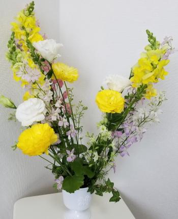 ヴェゲタティフに春を活ける,Flower Drops コースⅡ,東京,自由が丘,フラワーアレンジメント,教室,フラワードロップス