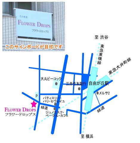 アクセス|フラワードロップスの教室の所在地を示す東京・自由が丘の地図